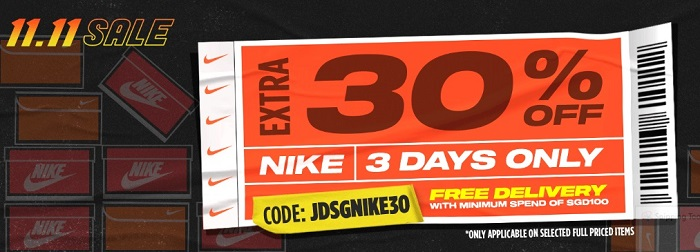JDSports Singapore NIKE Sale 3 Days 30% Off